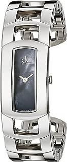 Calvin Klein Women's K3Y2M11F 'Dress' Black Mother of Pearl Dial Stainless Steel Bangle Swiss Quartz Watch