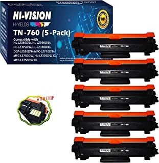 (5-Pack) Compatible TN-760 TN760 Toner Cartridge (High Yield) Replacement, for DCP-L2550DW,HL-L2350DW,HL-L2370DW,HL-L2370DWXL,HL-L2390DW,HL-L2395DW,MFC-L2710DW,Sold by HI-VISION HI-YIELDS