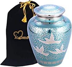 MEMORIALS 4U Wings of Freedom Brass Cremation Urn for Human Ashes - Solid Brass Returning Home Urn - Handcrafted Affordable Urn for Ashes - Going Home Urn with Free Velvet Bag or Box (Large Urn)