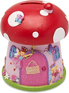 Wobbly Jelly - Toadstool 'Fairy House' Kids Girls Money Bank (Pink Glitter Ceramic Piggy Bank for Kids)