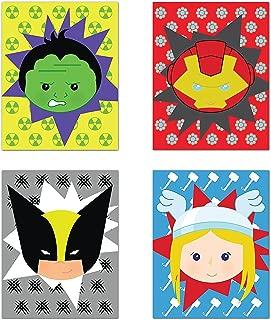 Children Inspire Design Superheros Decor, Baby Boy Nursery Decor, Iron Man, Hulk, Thor, Wolverine, Superhero Wall Art, Set of Four 05x07 Inch Print