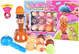Stacking Toys Balance Game, Ice Cream Tower Balance Toy with Scooper, Great Educational Game, Toddler Games Birthday Gift for Kids