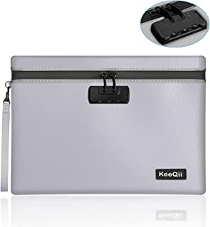 """KeeQii Fireproof Bag with Lock,13.8""""x10.0"""" Waterproof and Fireproof Document Bag with Combination Lock, Silicone Fireproof..."""