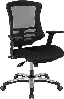 Flash Furniture 高靠背黑色网状多功能行政旋转椅,带模塑泡沫座椅和可调节扶手