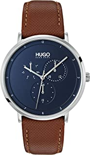 Hugo Boss Men'S Blue Dial Brown Leather Watch - 1530032