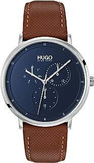 ساعة بسوار جلدي بني اللون ومينا أزرق اللون للرجال من هوغو بوس - طراز 1530032