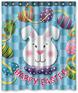 KXMDXA Custom Easter Eggs Happy Rabbit Waterproof Fabric Polyester Shower Curtain 60X72 Inch