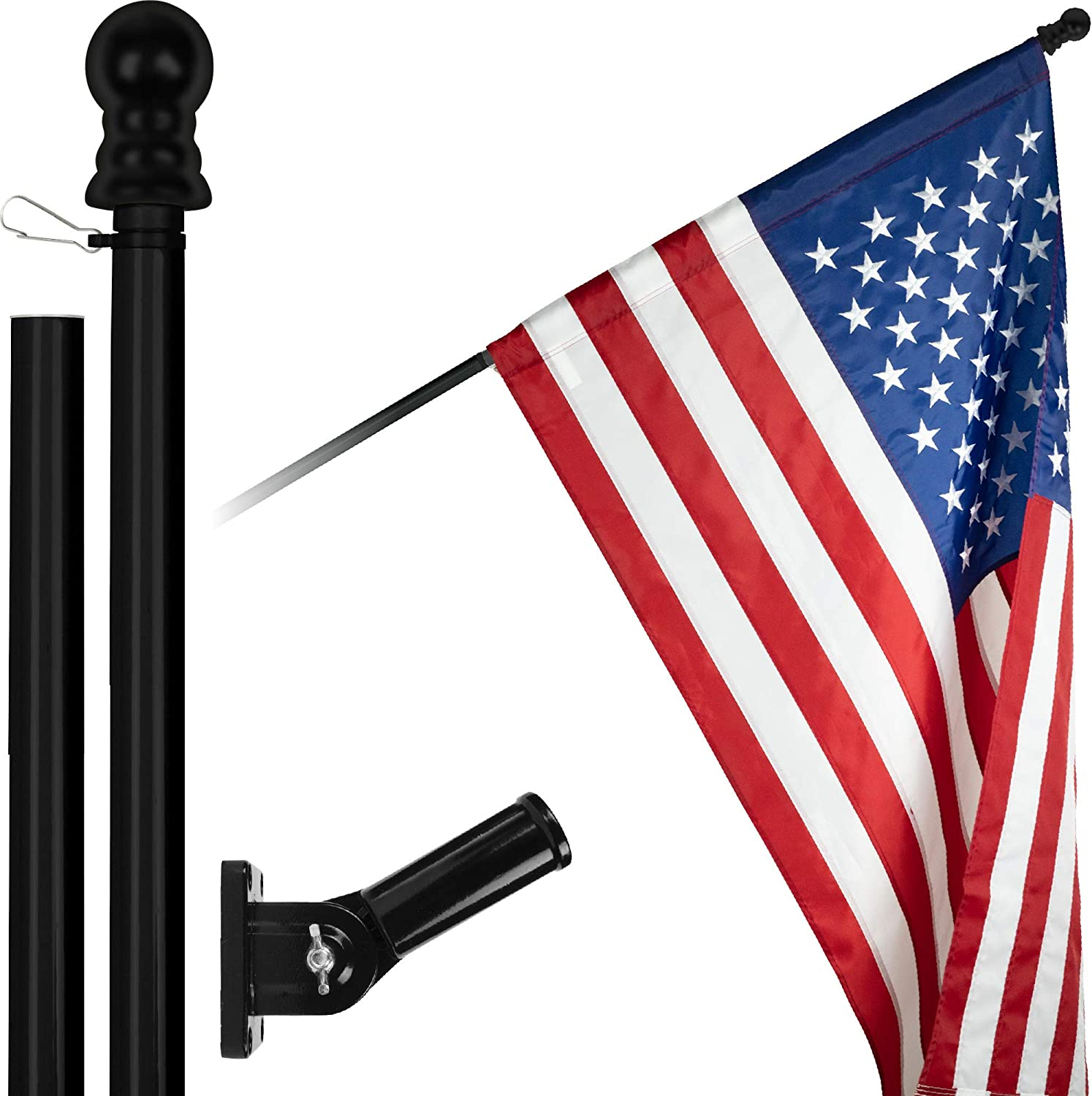 Spasm price G128 - OFFicial store 6 Feet Tangle Free Black Fla Flagpole Spinning American