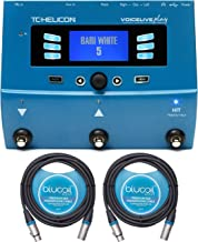 TC Helicon VoiceLive Play Vocal Effects Pedal with VLOOP Bundle with 12V 400mA DC Power Supply, Blucoil 2-Pack of 10-FT Balanced XLR Cables