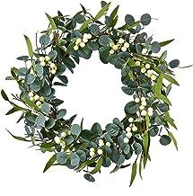 "BJH Boxwood Wreath Round 18"" Wreath Artificial Wreath Green Leaves Wreath Door Wall Window Decoration"
