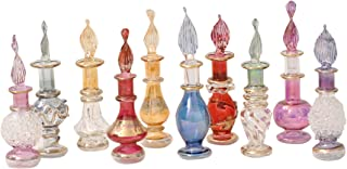 CraftsOfEgypt Genie Blown Glass Miniature Perfume Bottles for Perfumes & Essential Oils, Set of 10 Decorative Vials, Each 2