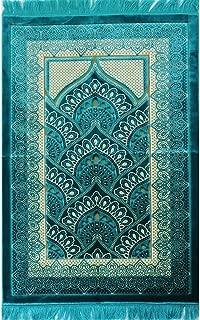 Wide Plush Velvet Islamic Prayer Rug Namaz Sajjadah Muslim Namaz Seccade Turkish Prayer Mat Free Cap Carpet (Turquoise)