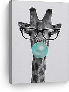 Smile Art Design Cute Giraffe with Glasses Animal Decor Bubble Gum Art Teal Blue Canvas..