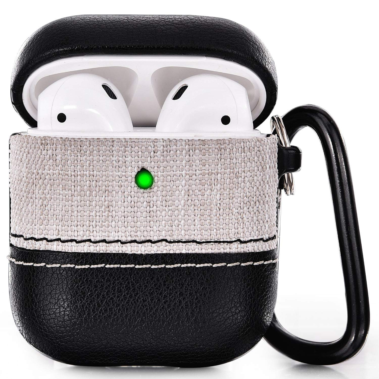 V-MORO Airpods Case Leather Airpod Case Cover Men for Airpods 2/&1 Charging Case with Keychain Protective Skin Black+Gold Front LED Visible