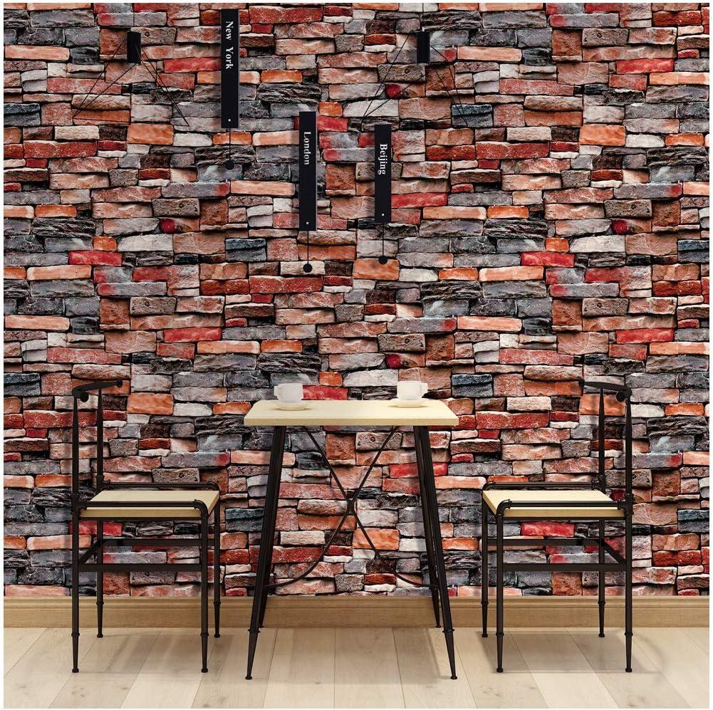 Amazon Haokhome 剥がせる 簡単 赤 レンガ 壁紙 シール 45mx6m キッチンのリビングルームのコーヒーショップの壁の装飾 Diy 工具 ガーデン