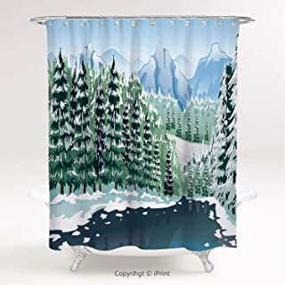 MyCCIC AM20071 Polyester Shower Curtain/Forest, Wildwood in Winter Season with Snowy Mountains and River Cartoon Style, Green Blue White/Bathroom Accessories Shower Curtain Set