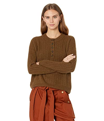 Madewell Solid Cherry Ribbed Henley