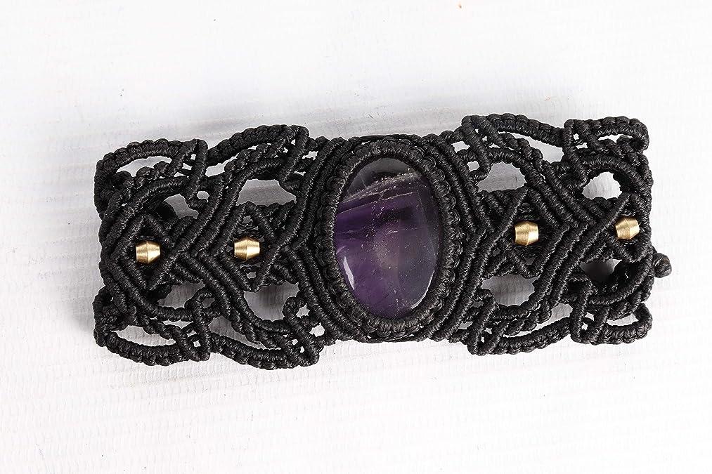 Handmade Macrame Braclet Jewelry Amethyst Stone Cord Bohemian