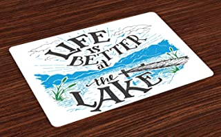 Lunarable Cabin Place Mats Set of 4, Life is Better at The Lake Wooden Pier Plants Mountains Sketch Art, Washable Fabric Placemats for Dining Room Kitchen Table Decor, Charcoal Grey