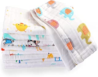 10 Pieces Baby Burp Cloth 10 x 20 inches 6 Layer Soft Absorbent Muslin Newborn Towel for Baby Shower Machine Washable, for...