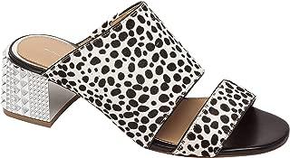 Harriet - Sculpted Metal Heel Slip On Leather or Suede Slide Sandal
