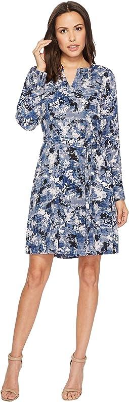 Ivanka Trump Multicolor Wash Long Sleeve Woven Dress