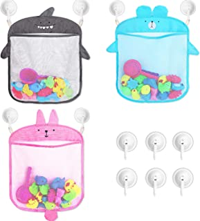 3 Pieces Bath Toy Organizer Bathtub Toy Storage Bag with 6 Pieces Bathroom Shower Suction Hooks for Bathroom Supplies