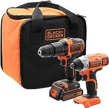 Black+Decker BCK21S1S-QW BCK21S1S-QW-Kit de Taladro Atornillador de Impacto inalámbrico (1 batería, Incluye Bolsa de Almacenamiento, 18 V