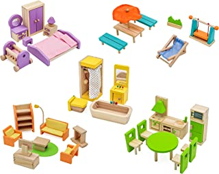 Pidoko Kids Dollhouse Furniture -Fully Furnished Bundle Set - (42 Pcs for 5 Rooms) - Wooden Toys
