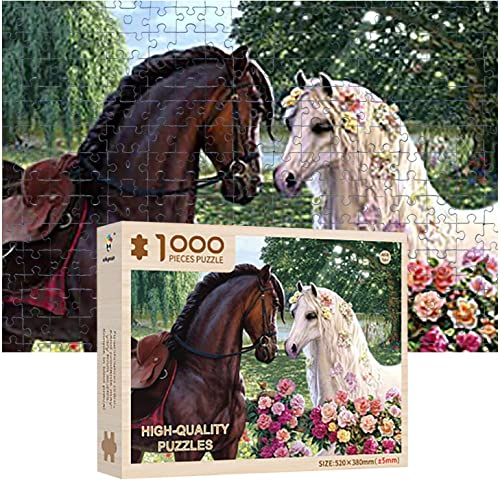 2021 OPTIMISTIC Wooden Puzzle 1000 Piece outlet sale - Horse Couple Wedding Landscape Puzzles - DIY Puzzle Game Collection high quality Artwork for Adults Teens - 1000 Piece Jigsaw Puzzles, 2MM outlet online sale