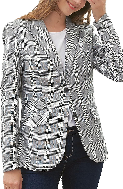 Hanayome Women's Blazer Two-Button Regular Fitted Gray Lattice Formal Separate Suit MI5 (Grey, 16W)