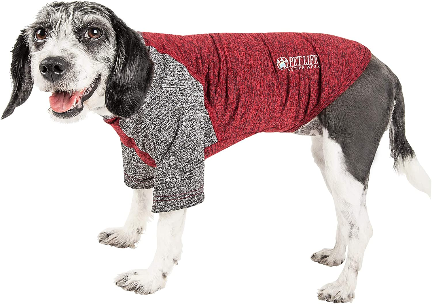 Pet Life 'Hybreed' 4Way Stretch TwoToned Performance Dog TShirt, XSmall, Maroon