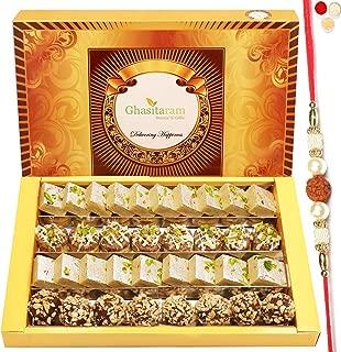 Ghasitaram Gifts Indian Sweets - Rakhi for Brother Rakhi Gifts Sweets- Assorted Box of Barfis, Dryfruit Sweets 800 gms with Rudraksh Rakhi