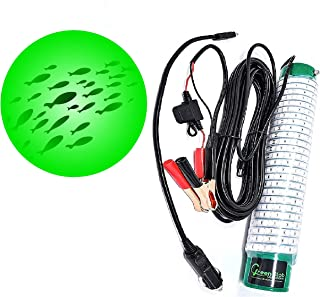 Green Blob Outdoors New Underwater LED Fishing Light 15000 Lumens with Alligator Clips and Cigarette Lighter Plug, 30ft Cord, Green, Crappie, Snook, Squd, Striper, Ice Fishing