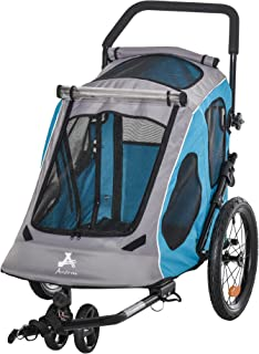 Aosom Dog Bike Trailer 2-in-1 Pet Stroller Cart Bicycle Wagon Cargo Carrier Attachment for Travel with 360 Swivel Wheel Re...