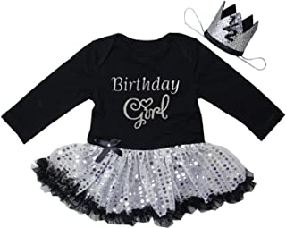 Kirei Sui Baby 1st First Birthday Black Gold Sparkle Bodysuit Tutu Headband
