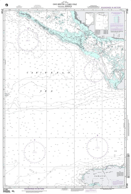 NGA Chart 27180 Cayo Breton to Cabo Cruz Including Jamai 47.5  x 32  Paper Chart