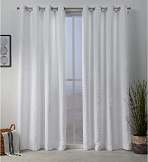 Exclusive Home Curtains Squared Grommet Top Panel Pair, White, 54x84, 2 Piece