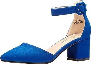 Women's Low Chunky Heels Pumps Ankle Strap Block Heel...