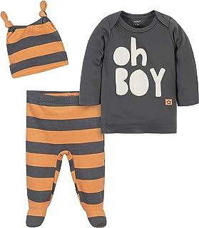 Grow by Gerber Baby Boys Organic 3-Piece Shirt, Footed Pant, and Cap Set