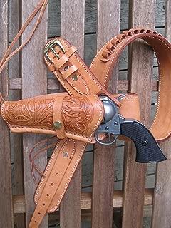 Shotgun Lilli Gun Belt - Leather - 22 Caliber - Natural Color with Left Handed Tooled Holster Combo