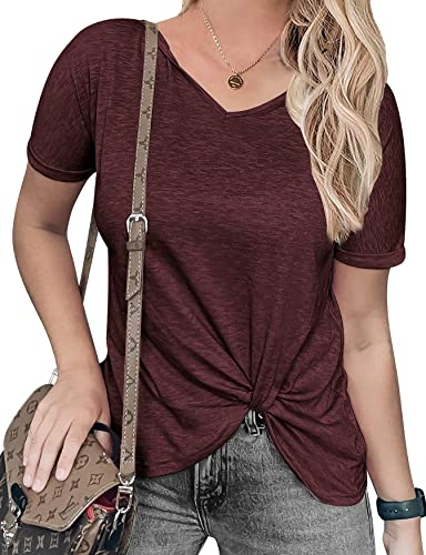 Chriselda Women's Tight Petite Twist Knot Tops Comfy Short Sleeve Knotted Tops Tunic Tank Tee Solid Color T Shirt