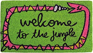 laroom Doormat–Welcome to The Jungle, Jute and Non-Slip Base, Green, 40x 70x 1.8cm