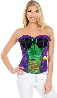 Secret Wishes DC Comics Justice League Superhero Style Adult Corset Top with Logo The Joker, Purple, Small