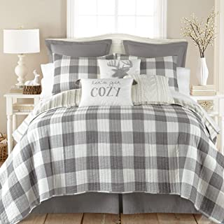 Levtex Home - Camden Quilt Set -King Quilt + Two King Pillow Shams - Buffalo Check in Grey and Cream - Quilt Size (106 x 9...