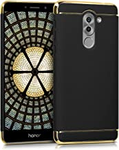 kwmobile Case for Huawei Honor 6X / GR5 2017 / Mate 9 Lite - Shockproof Protective Hard Case Back Cover with Chrome Frame - Black/Gold