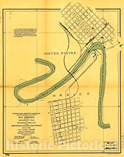 Historic 1910 Map - Boundaries Between Brownsville, Texas and Matamoros, Tam. (Mexico) 35in x 44in