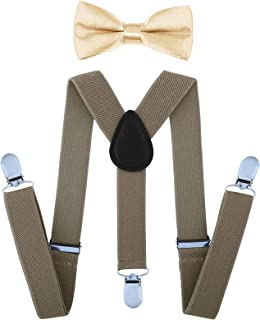 AWAYTR Child Kids Suspenders Bowtie Set - Adjustable Suspender Set for Boys and Girls