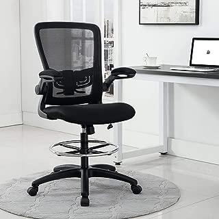 Naomi Home Serena Mid-Back Mesh Adjustable Drafting Chair Black/Black