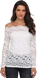 Women's Lace Tops Off Shoulder Shirt Floral Sexy Long Sleeve Blouse